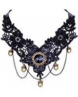 Yazilind bijoux collier fait main Lolita baisse de coeur Pendentif Dentelle Choker noir Multi chaine gothique