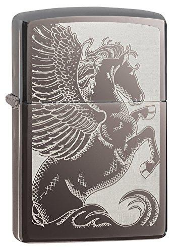 Zippo Pegasus Pocket Lighter, Black Ice
