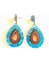 Blue Stone Teardrop Earrings