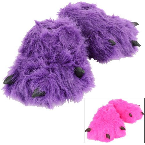Children's Novelty Padded Fun Faux Fur Hot Pink Or Purple Monster Feet Slippers