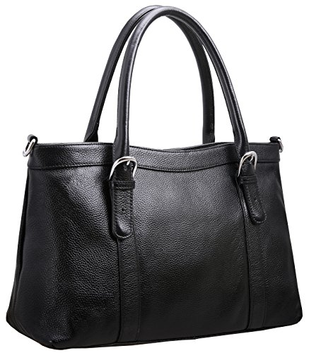 Image of Iswee Women's Leather Shoulder Bag Satchel Handbags and Purse Classic Design Tote for Ladies (Black)
