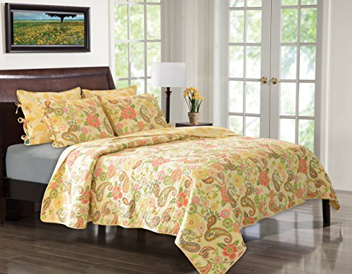 Greenland Home Sunset Paisley Quilt Set, Twin front-68504