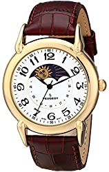 Peugeot Unisex Gold-Tone Case Sun Moon Watch with Brown Textured Leather Band 3032