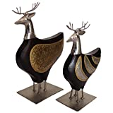 Jodhpur Summers Wooden Stag (Black, Set Of 2)