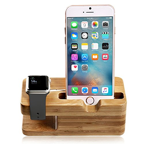 #1 Apple Watch Stand, Aerb Bamboo Wooden Charging Stand Bracket Docking Station Inventory Cradle Holder for iPhone and Apple Watch 38mm 42mm