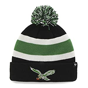 NFL Philadelphia Eagles '47 Brand Breakaway Cuff Knit Hat with Pom, Black, One Size