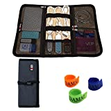 BUBM Portable Universal Wrap Electronics Accessories Travel Organizer / Hard Drive Bag / Cable Stable with Cable Tie (Medium-Dark Blue)