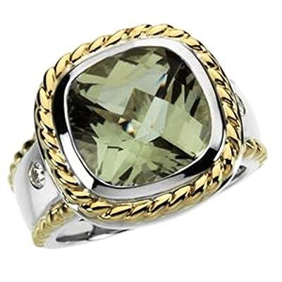 Genuine Checkerboard Green Quartz & Diamond Ring - Size 6