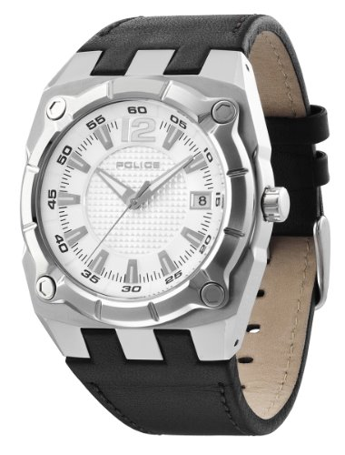 Police Men's Marshall Watch 12696Js/04 with Black Leather Strap and Silver Dial