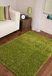 Vibrant Green Soft Luxury Shaggy Rug 5 Sizes Available from The Rug House