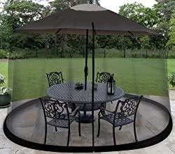 Garden Creations JB5678 Outdoor 9-Foot Umbrella Table Screen, Black