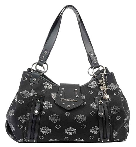 Harley-Davidson Women's Metallic Jacquard B&S Satchel Purse Black JM9516J-SILBLK
