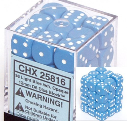 Chessex Dice d6 Sets: Opaque Light Blue with White - 12mm Six Sided Die (36) Block of Dice