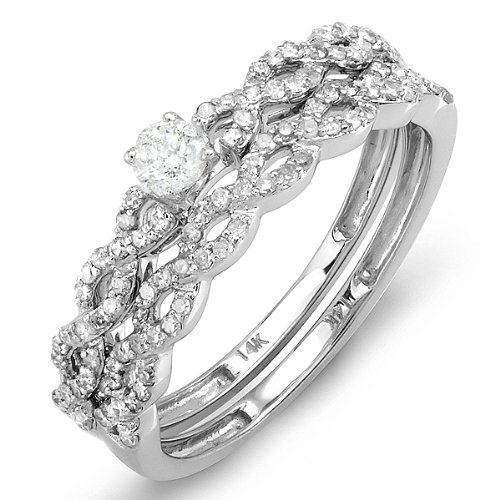 0.60 Carat (ctw) 14k White Gold Round Cut Diamond