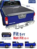TYGER Tri-Fold Pickup Tonneau Cover Fits 05-15 Nissan Frontier 5 feet (with/without utility track); 09-12 Suzuki Equator 5 feet (60 inch) Trifold Truck Cargo Bed Tonno Cover (NOT For Stepside)