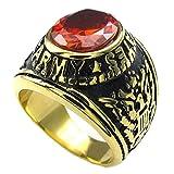 KONOV ジュエリー ファッション アクセサリー メンズ リング 指輪, クラシック イーグル, ジルコニア ダイヤ, ステンレス, カラー:レッド; ゴールド(金);[ギフトバッグを提供] - [19号]