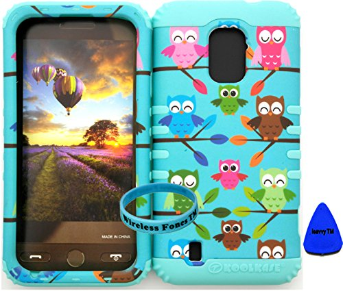 Wireless Fones Tm Zte Majesty Z796C Zte Source N9511 Tuff Impact Hybird Cover Case Tiny Owls On Teal On Baby Teal Silicone Skin (Wireless Fones Tm Wristband & Pry Tool Included) front-1078680