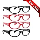 Reading Glasses _ Best 4 Pack of Readers for Women with 2 Black and 2 Reds_ Always Have Crystal Clear Vision Everywhere You Need It! _ Stylish Look with Sure-Flex Comfort Spring Arms and Dura-Tight Screws _ Industry Leading 180 Day 100% Money-Back Guarantee + 3.25