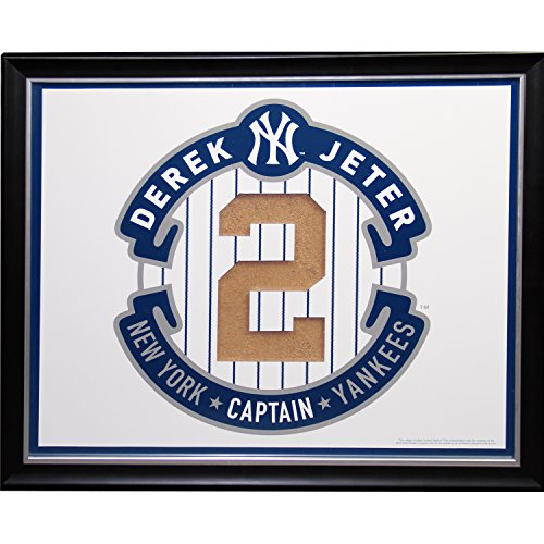 Derek Jeter Retirement Logo Framed Collage W/ Yankee Stadium Authentic Game Used Dirt front-838610