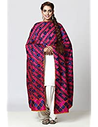 Vibrant Cotton Phulkari Bagh Dupatta With Pink & Blue Diamond Checkered Hand Embroidery