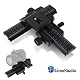 LimoStudio 4-Way Photo Shooting Macro Focus Rail Metal Slider - Camera Slider For DSLR Digital Camera - Photo Studio - AGG1565