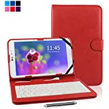 "Kamor® 9.7"" 9.7 Inch Universal PU Leather Stand Tablet Case with Keyboard + Micro USB Keyboard with Touch Screen Stylus Pen for 9.7 inch Android Tablet PC (Red)"