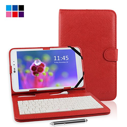 """Kamor® 9"""" Pu Leather Stand Case + Micro Usb Keyboard With Touch Screen Stylus Pen For 9 Inch Android Tablet Pc + Micro Female To Mini Male Adapter (Red)"""