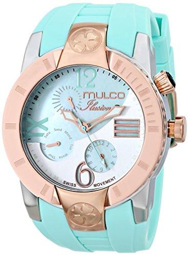 Mulco de mujer reloj de pulsera 46mm Pulsera Silicona Azul Gehà € Use Acero Inoxidable Suiza Cuarzo Analog MW5-1877-433