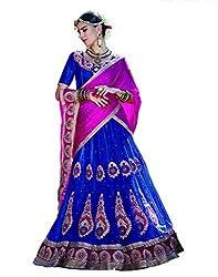 DesiButik's Wedding Wear Magnificent Blue Net Lehenga