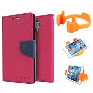 Aart Fancy Diary Card Wallet Flip Case Back Cover For Mircomax Q372 - (Pink) + Flexible Portable Mount Cradle Thumb Ok Stand Holder By Aart store