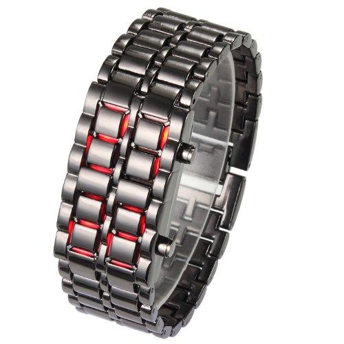 Orologio da polso, digitale, a LED, con cinturino in acciaio (Black-Red Led)