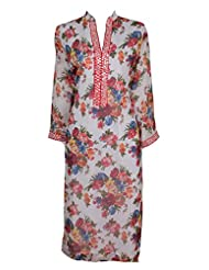 Azra Jamil Floral Printed Faux Chiffon With Mirror Worked Traditional Kurti For Women