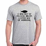 Mens Funny Sayings Slogans T Shirts Fishing Beats A Good tshirt SGRY Grey Large