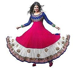 Khazanakart women's pink georgette Anarkal Dress materials