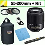 Nikon 55-200mm f4-5.6G ED AF-S DX Nikkor Zoom Lens + Deluxe Accessory Kit ~ Focus Camera
