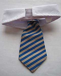 Vedem New Small Dog Cat Pet Stripe Bow Tie Neck Tie White Collar Choose Color (Blue/Khaki)