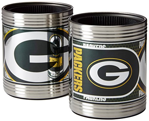 NFL Green Bay Packers Stainless Steel Can Holder with Hi-Definition Metallic Graphics Set (2-Piece), Silver (Green Bay Packers Can Holder compare prices)