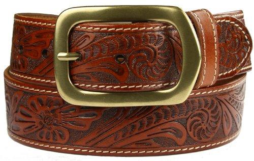 Jefferson Western Embossed Genuine Leather Casual Jean belt Tan (38)
