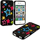 myLife (TM) Abstract Rainbow Stars Series (2 Piece Snap On) Hardshell Plates Case for the iPhone 4/4S (4G) 4th Generation Touch Phone (Clip Fitted Front and Back Solid Cover Case + Rubberized Tough Armor Skin + Lifetime Warranty + Sealed Inside myLife Authorized Packaging) ADDITIONAL DETAILS: This two piece clip together case has a gloss surface and smooth texture that maximizes the stylish appeal of your iPhone 4 and brings out the unique colors and designs in the case itself.