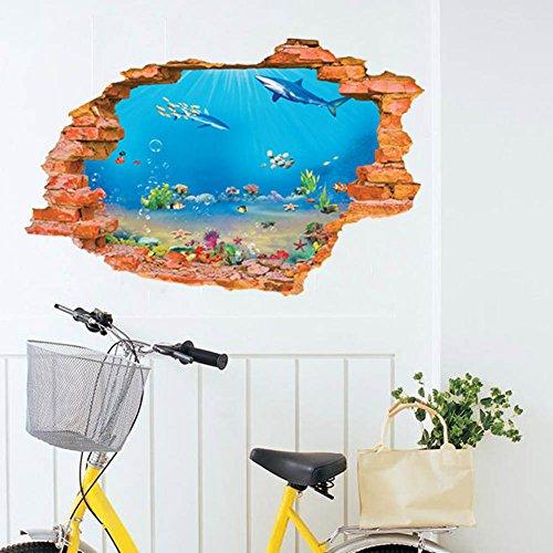 LC-Trading Ltd. 3D Window Submarine World View Sea Fish Shark Wall Stickers for Children's Room