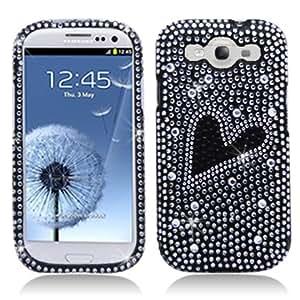 Aimo Wireless SAMI9300PCDI199 Bling Brilliance Premium Grade Diamond Case for Samsung Galaxy S3 i9300 - Retail Packaging - Black Heart