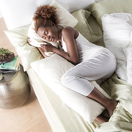 "Avana Ellipse Memory Foam Body Pillow For Side Sleepers, 48"", Bamboo"