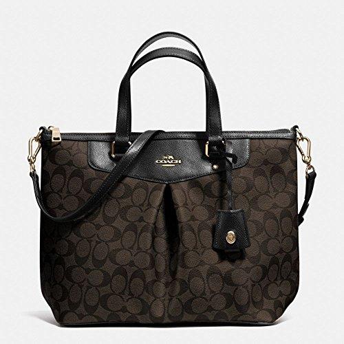 COACH Signature Pleat Tote Satchel Handbag Bag Brown Black 34614