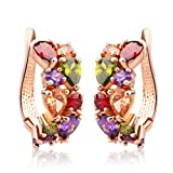 Bamoer Rose Gold Plated Prongs Swarovski Crystal Element Cubic Zirconia Multi-Color Stud U Earrings