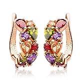 Bamoer Rose Gold Plated Prongs Swarovski Crystal Element Cubic Zirconia Multi-Color Stud U Earrings