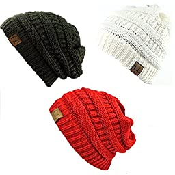 Trendy Warm Chunky Soft Stretch Cable Knit Slouchy Beanie Skully HAT20A (One Size, 3 Pack: DarkOlive/Ivory/Red)