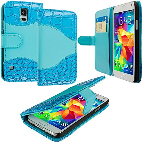 Cell Accessories For Less (Tm) Baby Blue Crocodile Leather Wallet Pouch Case Cover With Slots For Samsung Galaxy S5 - By Thetargetbuys