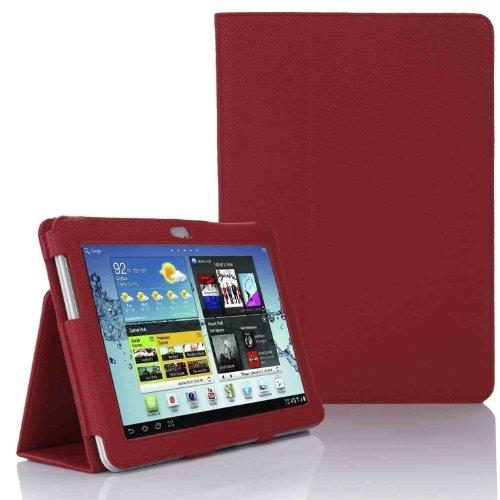 Hostey ® Samsung P5100 P5110 Tasche Hülle Schutzhülle Case Cover for Samsung Galaxy Tab 2 10.1 P5100 P5110 mit Ständer++ Displayschutzfolie (Bio Pu Leder) (Rot/RedII)