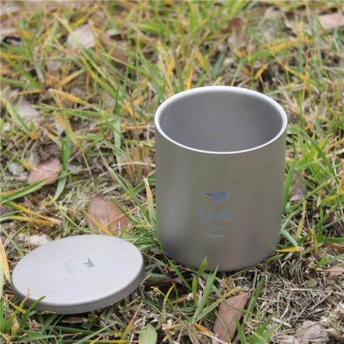 Keith Camping Travel Drinkware Double Wall Titanium Water Cup Mug With Lid Ti81 300ML