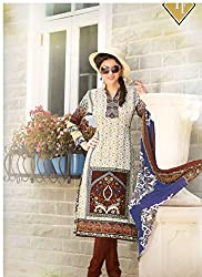 Fashion Bizarre Printed Brown and Green on Cream base with Chiffon Dupatta